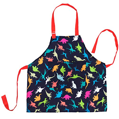 Nidoul Official Kids Apron, Adjustable Dinosaur Kitchen Chef Apron with Big...