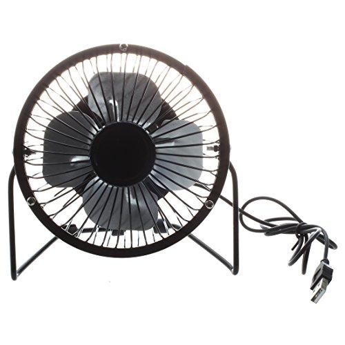 SODIAL(R) Mini ventilatore da tavolo elettrico metallo 4-pollici 360 gradi di rotazione USB alimentato per PC/Laptop/Notebook (nero)