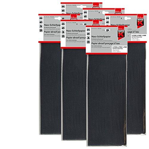 Kwasny 6X 746 028 Auto-K Nass-Schleifpapier Metall Kunststoff Set 230x280cm 1 St