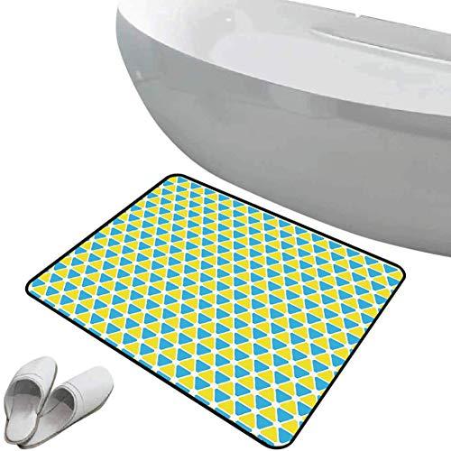 Alfombra de baño antideslizante de felpudo Amarillo y azul Alfombrilla goma antideslizante Patrón de triángulos formando hexágonos vinculados diseño geométrico vibrante,azul cielo amarillo,Interior/Ex