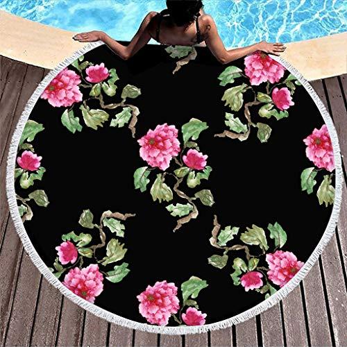 Gamoii Rund Strandtuch Badetuch Rosa Blumen Pflanze Picknickdecken Strandmatte Frottee Badetuch Saugfähig Saunatücher mit Quaste für Erwachsene Kinder Schwimmen White OneSize