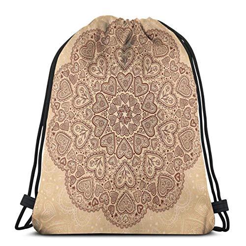 Sanme Kordelzug Rucksäcke Taschen, ethnisches Herz und Tulpenmotive Antike Florale orientalische asiatische Vintage Boho Chic