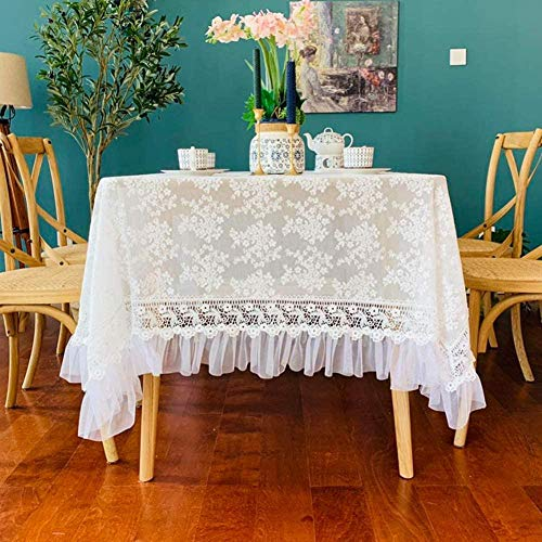 Yooepd Mantel redondo rectangular de encaje lavable resistente a las manchas para cocina, boda, novia, baby shower, comedor, decoración -A_150 x 230 cm