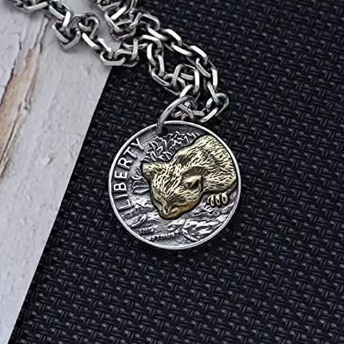 Los hombres usan collares pendientes Hombres mujeres gato moneda colgante medallón estilo nórdico collar Vintage dos colores amuleto joyería Regalo para esposo, padre, novio. regalo de cumpleaños