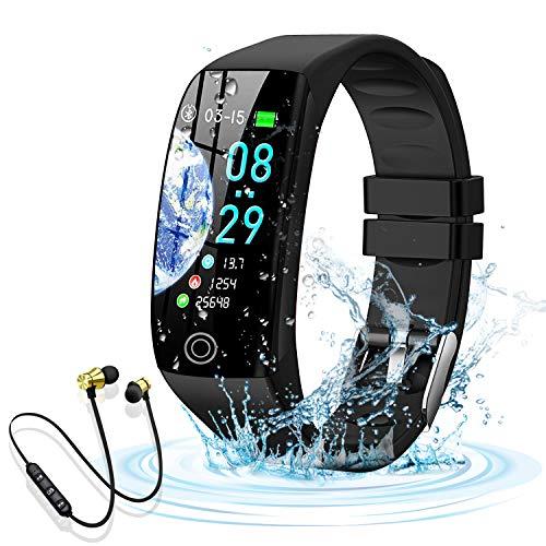 Smartwatch Orologio Fitness Tracker Uomo Donna Smartwatch Bracciale Cardiofrequenzimetro da Polso Impermeabile IP68 Contapassi Smartband Sportivo Braccialetti per Android iPhone Huawei Xiaomi (Nero)