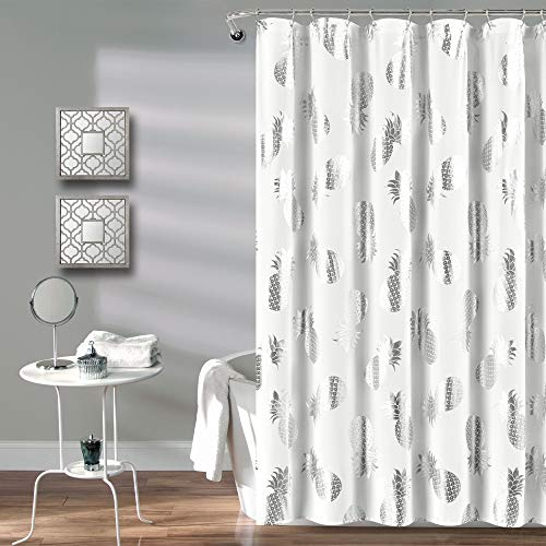 Lush Decor Duschvorhang, Ananaswurf, Stoff, Metallic-Druck-Design 72