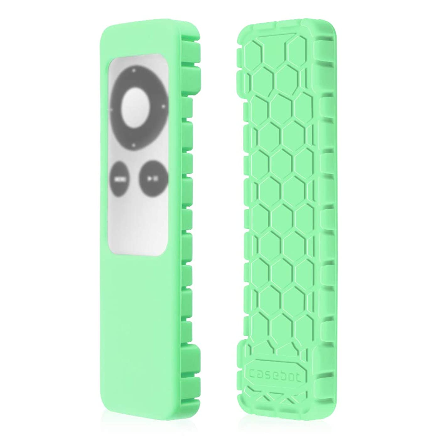 Fintie Protective Case for Apple TV 2 3 Remote Controller - Casebot [Honey Comb Series] Light Weight [Anti Slip] Shock Proof Silicone Sleeve Cover, Green Glow