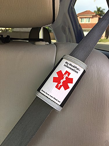MediPal Seatbelt ID- Alerts Emergency Staff to Patients Medical Health Condition for Those with Autism, Diabetes, Alzheimers, Stroke, Arthritis, Asthma, Allergies, on Multiple meds