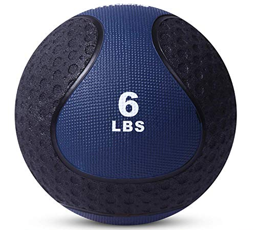 Medicine Exercise Ball with Dual Texture for Superior Grip by Day 1 Fitness - 6 Pounds - Fitness Balls for Plyometrics, Workouts - Improves Balance, Flexibility, Coordination