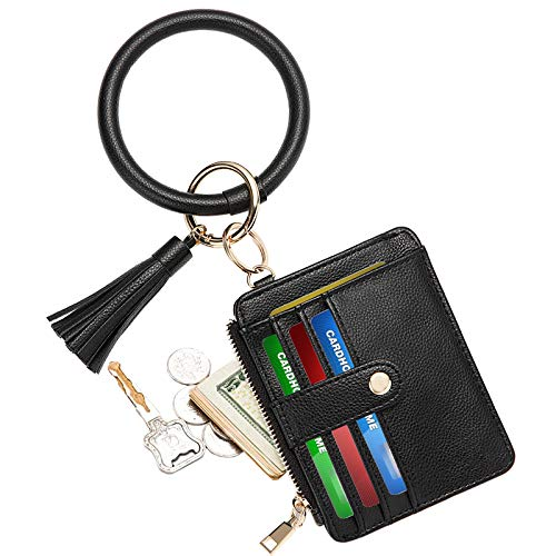 COOLANS Wristlet Bracelet Keychain Pocket Credit Card Holder Leather Purse Tassel Keychain Bangle Key Ring for Women (Card & Id Holder Purse 022 Lychee Pattern Black)