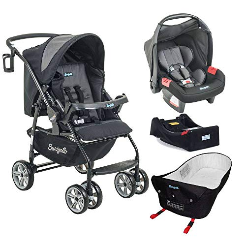Carrinho de Bebê AT6 K + Bebê Conforto Preto / Cinza + Base e Ninho Pramette – Burigotto