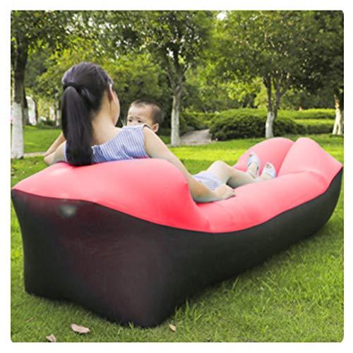 Almohada Hinchable Inflable, Productos al Aire Libre Sofá Infatable Rápido Cama de Aire Bolsa de Dormir Bolsa de Aire Inflable Lazy Sofa,Black+Red
