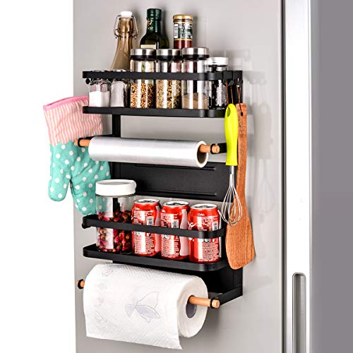 Sunix Magnetic Rack, Magnetic Fridge Spice Rack, 12.6x5.2x18.1in New Design Paper Towel Holder, Rustproof Spice Jars Rack, Multi Use Refrigerator Side Shelf Including 5 Removable mobile Hooks (BLACK)