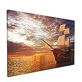 Cuadro sobre lienzo para pared - Barco pirata flotando en el océano en el sol Carabela Embarcación Náutica - Obra de arte decorativa moderna sin marco 30X45CM