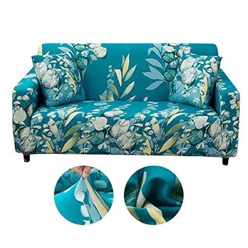 Funda de Sofá 3 Plazas Funda de Sofá Antideslizante con Diseño Elegante Universal Hojas Azules Funda Sofá Elástica Antideslizante Protector Cubierta de Muebles