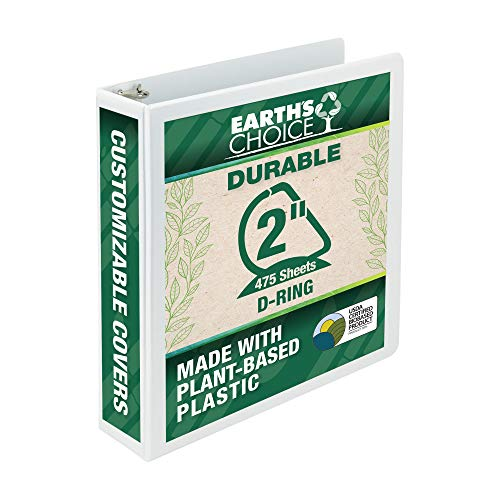 Samsill Earth's Choice Biobased Durable 3 Ring Binder, Clear View 2 Inch Binder, D-Ring, Up to 25% Plant Based Plastic, USDA Certified Biobased, White