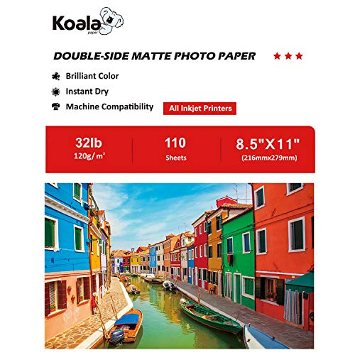 Koala Double Sided Matte Presentation Paper 8.5X11 Inches 120gsm 110 Sheets Compatible with Inkjet Printer