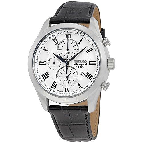 Seiko Herren Chronograph Quarz Uhr mit Leder Armband SNAF69P1