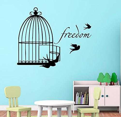 Sanzangtang Schattige hanger vogel kooi motief muursticker huis kinderen slaapkamer decoratie speciaal vinyl kunst wandontwerp met volants