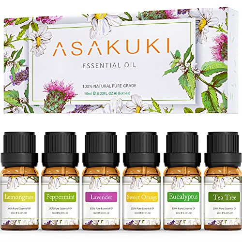 ASAKUKI Essential Oils Top 6 Gift Set, 100% Pure Therapeutic Grade Aromatherapy Oils for Diffuser,Humidifier, Massage Includes Lavender, Eucalyptus, Lemongrass, Tea Tree, Sweet Orange and Peppermint
