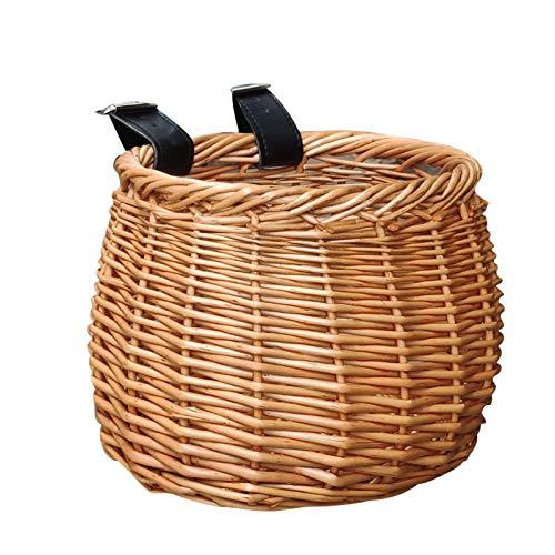 Cestino per bicicletta in rattan naturale con fodera, cestino per manubrio anteriore per bicicletta impermeabile con cinghie regolabili, cestino per bicicletta fatto a mano perfetto per i bambini