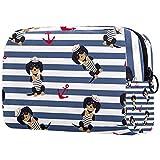 Neceser Maquillaje Portátil Marinero Cachorro Bolsa de Maquillaje portátil Bolsa de Aseo Neceser de Viaje Toiletry Bag para Mujeres niñas 18.5x7.5x13cm