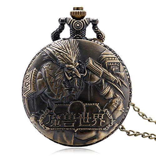 JLyshop Taschenuhr für Herren, Vintage-Bronze, World of Warcraft Steampunk-Taschenuhr, Geschenk für Männer