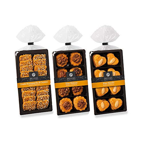 Käsegebäckvariationen 3er-Set, Käsegebäck mit Walnuss, Gouda und Mandeln, 3 x 100g