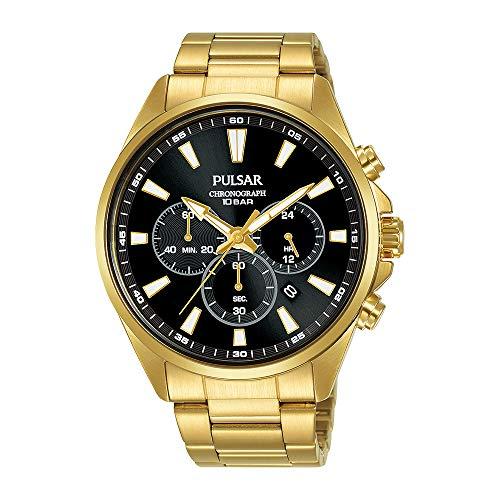 SEIKO PULSAR PT3A40X1 Chronograph Watch セイコー パルサー アナログ クロノグラフ ゴールド ブラック 腕時計 [並行輸入品]