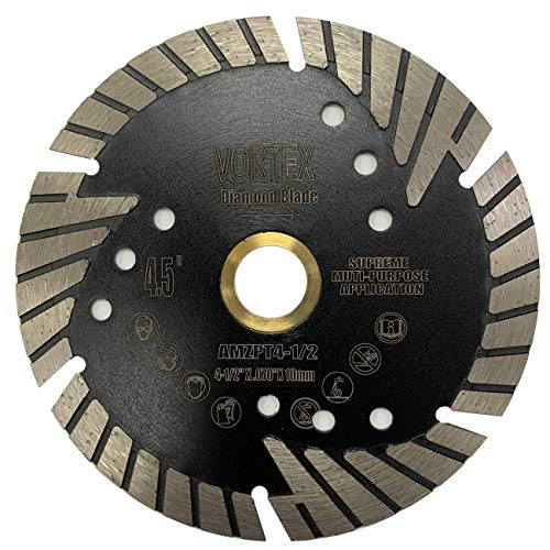 VORTEX DIAMOND VPPS 4-1/2 inch Supreme Quality Dry or Wet Cutting General Purpose Power Saw Protected Continue Turbo Diamond Blades for Granite Stone Concrete (4.5