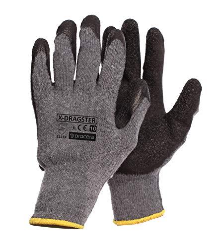 PROCERA X-DRAGSTER Arbeitshandschuhe Herren Latex Baumwolle Handschuhe dehnbar und langlebig Damen wasserbeständig säurebeständig beschichtet; schwarz und grau (60, T10)