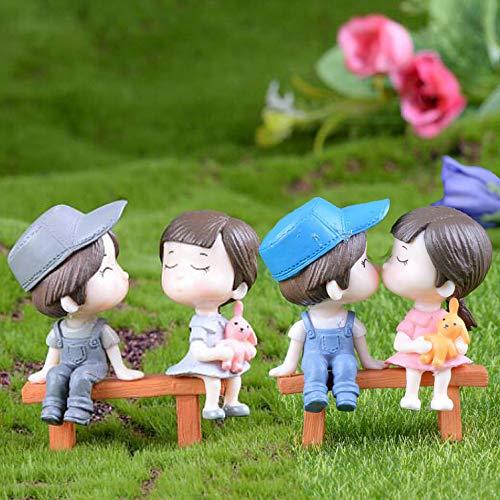 SweetGifts Miniature Couple Figurines Kiss Dolls Sitting Seat Landscape Ornaments Mini Resin Fairy Garden Bonsai Dollhouse Decorations 4PCS
