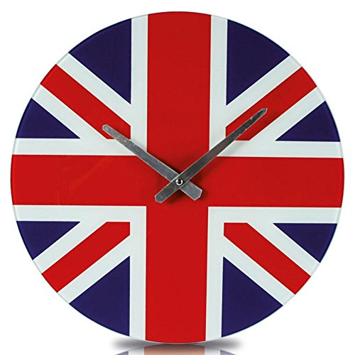 Out of the blue Glas Wanduhr Union Jack rund