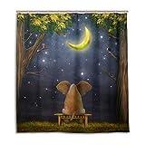 ALARGE Elefante galaxia noche Bosque cortina de ducha baño conjunto impermeable moho tela de poliéster con gancho 12 agujeros decoración del hogar 166 x 72 pulgadas