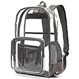 Heavy Duty Clear Backpack, Ace Teah Clear Transparent PVC Multi-pockets School Backpacks, See-Through Outdoor Backpack for Work, Security, Sports Events (Grey)