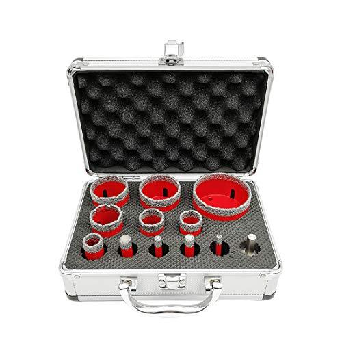 SHDIATOOL 12 Piezas/Juego de Brocas de Diamante con Aluminio Cortador 6/8/10/12/20/25/28/35/45/50/68mm y Adaptador para Perforación en Seco Porcelana Azulejo Granito Mármol