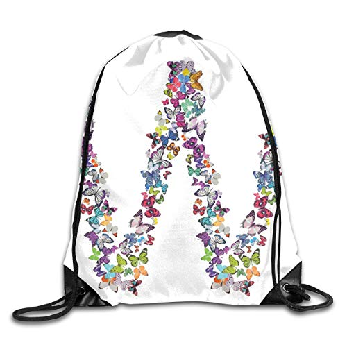 YOWAKi Printed Drawstring Backpacks Bags,Butterflies Language of Grace Alphabet Font Letter W Girls Design Educational,Adjustable String Closure