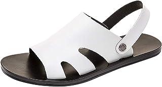 HUADUO Sandale pour Hommes d'été, Sandales d'affaires à Rivets en Cuir, Bout Rond Respirant Doux décontracté Pantoufles de...