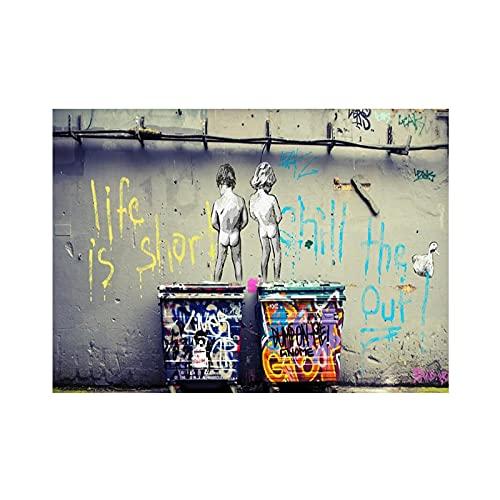 Carteles artísticos Impresiones Banksy Art Life Is Short Chill The Duck Out Lienzo Pintura Graffiti Street Moderno Cuadro de pared Decoración 70x100cm (28x39in) Sin marco