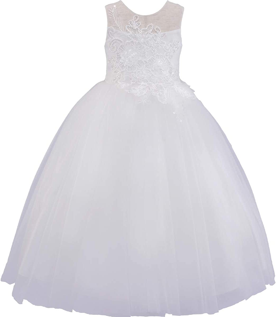 Flower Girl Dress 4D Floral Dress Special Occasion Girls Sleeveless Dress Party Holiday First Communion Size 2-14