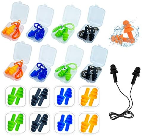 Ear Plugs for Sleeping 16 Pairs Noise Canceling Ear Plugs Soft Reusable Silicone Earplugs Waterproof product image