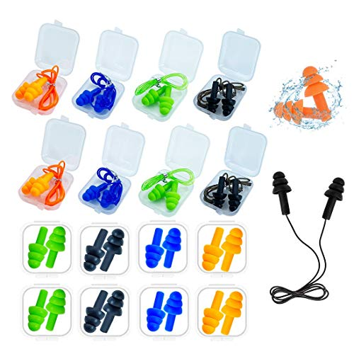 Ear Plugs for Sleeping,16 Pairs Noise Canceling Ear Plugs Soft Reusable Silicone Earplugs Waterproof Noise Reduction Earplugs for Concert,Swimming,Study,Loud Noise,Snoring