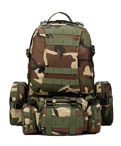 Greenpromise 50L Molle Taktischer Rucksack Wasserdicht 600D Assault Outdoor Reisen Wandern Sport Militär Rucksäcke Jagd Armee Tasche (Dschungel Camouflage)