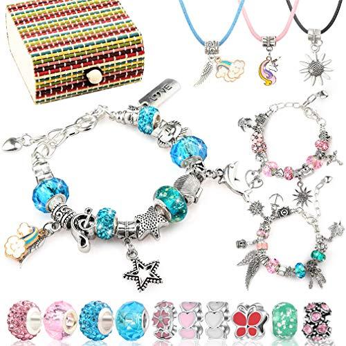 Fengzio Mädchen Geschenke 6-13 Jahren, Armbänder Selber Machen, Schmuck Bastelset für Kinder, mit 50 Verschiedene Elemente Anhänger Perlen 3 Größen versilberte Kette 3 Halskette und Geschenkbox (Set1)