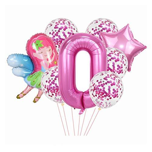 Xx101 Globo 8 unids/Set Rosa Número de Globo Lindo Estrella de Hadas Foil Globs Confetti Globos para niños Niños Niñas Chicas Fiesta de cumpleaños Suministros (Color : BN0)
