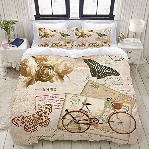 Juego de Funda nórdica, Bicicleta Vintage con Mariposas, Bicicleta Vieja, Colorido Juego de Cama Decorativo de 3 Piezas con 2 Fundas de Almohada