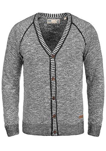 !Solid Thiamin Herren Strickjacke Cardigan Feinstrick Mit V-Ausschnitt und Knopfleiste Aus 100% Baumwolle, Größe:M, Farbe:Black (9000)