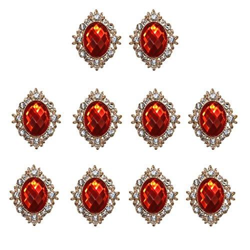 10er Set Cabochons Flache Rückseite Flatback DIY Verzierungen Schmucksteine Dekosteine zum Basteln Dekorieren - Rot
