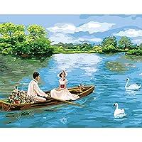 大人のための数字によるDIYペイントキッズギフト愛好家とボートKT524-30x40cm数字によるDIYキャンバス絵画アクリル油絵家の装飾