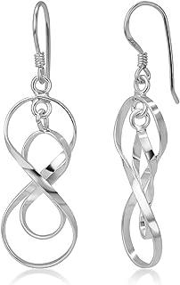 925 Sterling Silver Spiral Dangling Infinity Eternity Endless Love Symbol Dangle Hook Earrings 1.6